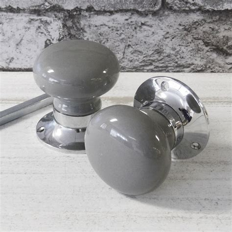 grey turning mortice door knobs by pushka home