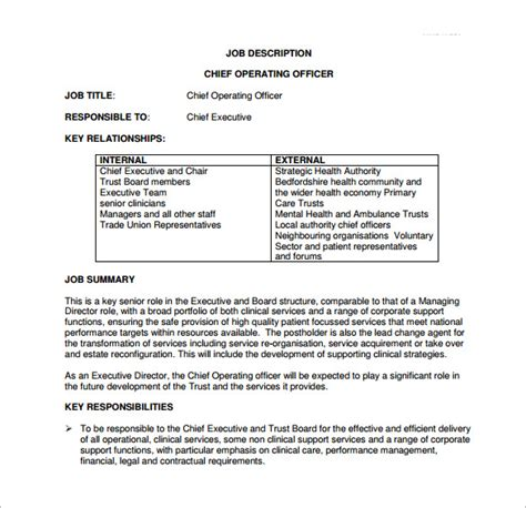 officer description template chief operating officer description template 7 free