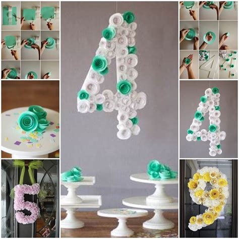 diy spiral flower number party decoration