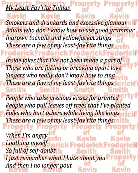printable lyrics sound of music things kevin s journal