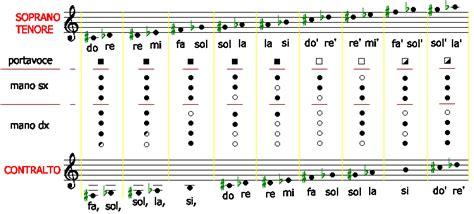 tavola posizioni flauto traverso diteggiatura flauto dolce