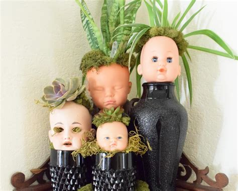 how to make creepy doll head planters for halloween how
