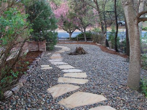 rock landscape design river rock flower bed designs home decorating ideas