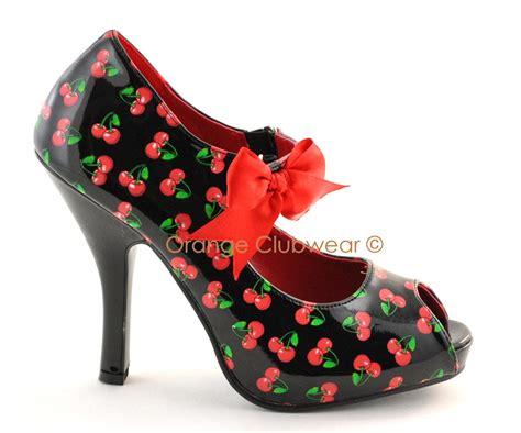 cherry high heels pinup womens burlesque retro rockabilly cherry high