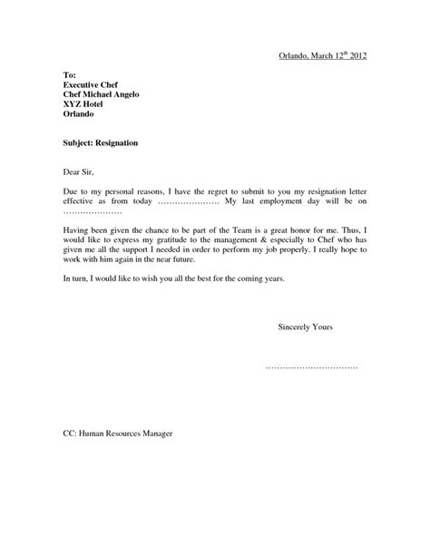 Resignation Letter Format For Finance resignation letter format for personal reason document blogs