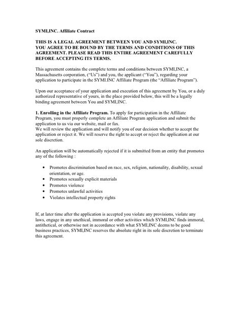 Symi Inc Affiliate Contract This Is A Legal Agreement Between Affiliate Contract Template