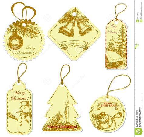 vintage christmas tags stock photo image 16705820