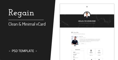 demdous mobile vcard template by thememarket themeforest regain clean minimal personal vcard template by