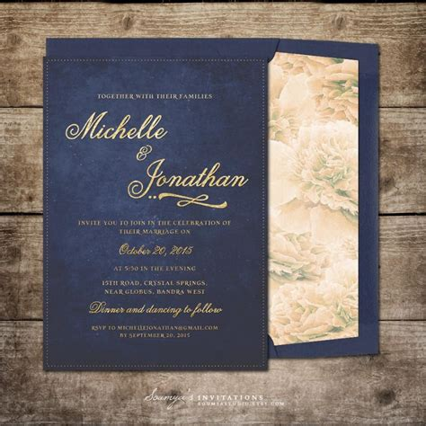 Wedding Invitations Navy And Gold by Navy Blue And Gold Wedding Invitation Printable Wedding