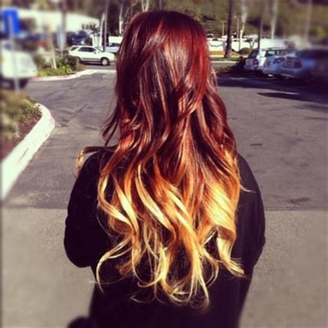 red and blonde ombre pictures dark red to blonde ombre hair
