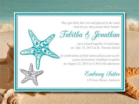 wedding reception invite layout 3 wedding reception invitation template quot blissful starfish quot post destination wedding