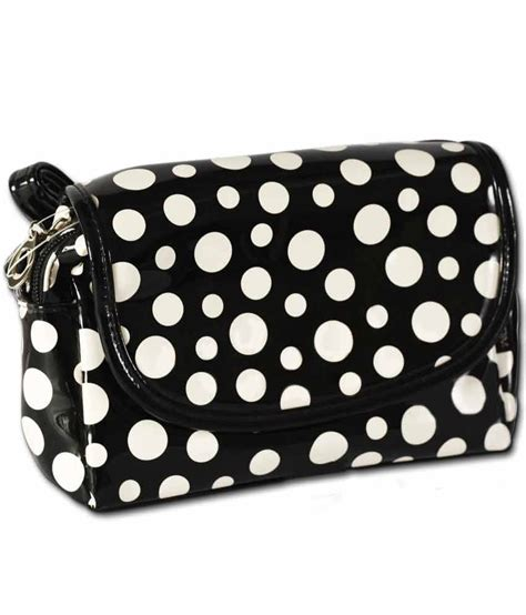 Slingbag Polkadot Bs016 black white polka dot sling bag buy black white polka dot sling bag at best prices in