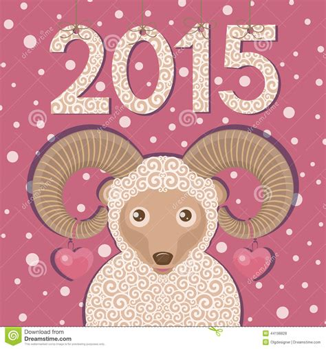 new year ram vector ram with hearts and pink background stock vector image