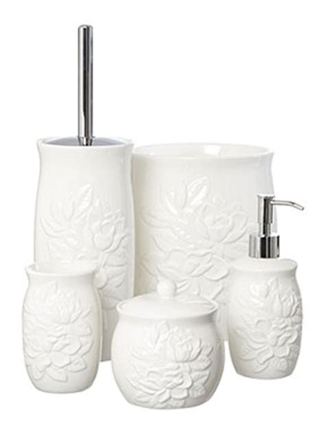 shabby chic white debossed floral bath accessories house of fraser