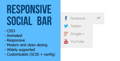 responsive top bar best social bars scripts for web designers