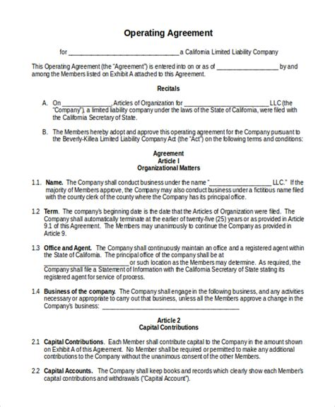 operating agreement template sle operating agreement form 10 free documents in
