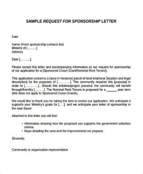 Sponsorship Letter Application Sle Sponsorship Letter 9 Exles In Word Pdf