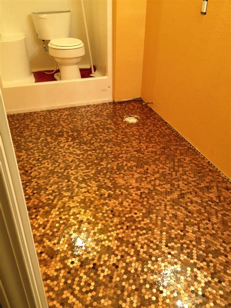pennies on floor of bathroom this is my own penny floor this was taken before the