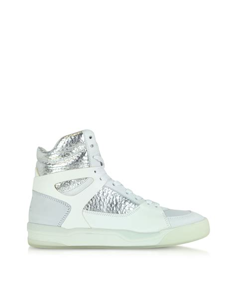 white high top sneakers for lyst mcqueen x move leather high top