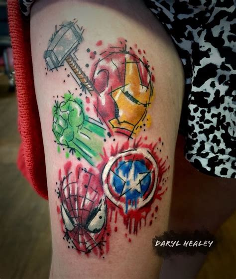 marvel tattoos marvel logo splash effect and me on