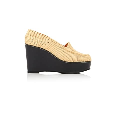 Gucci Slip Wedges Loafers robert clergerie uguette platform wedge loafers in pink lyst