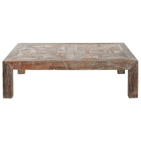 horace rustic lodge reclaimed elm parquet coffee table