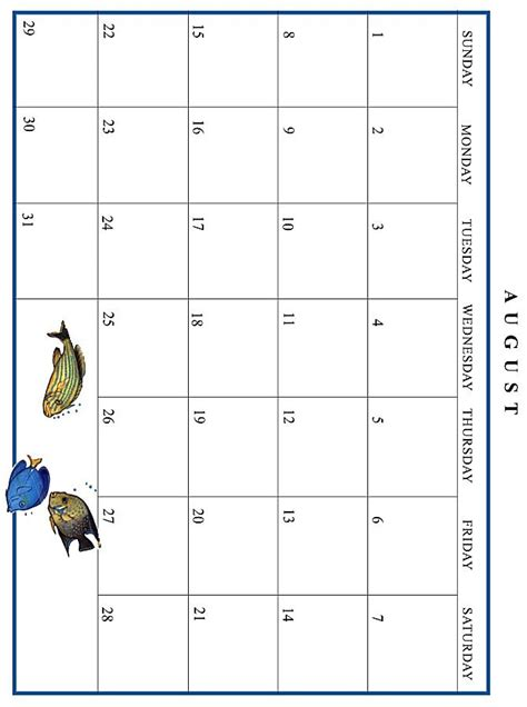 August 1996 Calendar Jan Brett 1999 Calendar August Grid