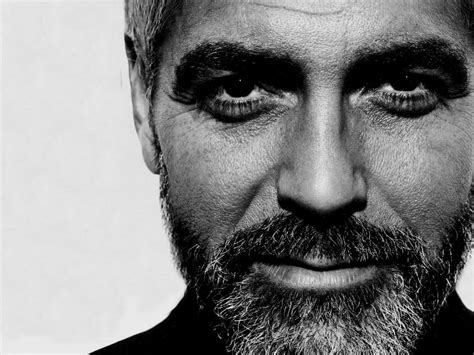 actor with long white beard george clooney with beard black white hot photo