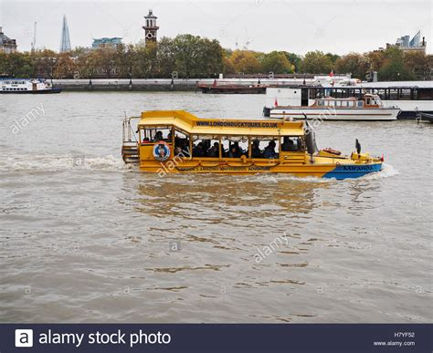 river thames duck boat amphibious vehicle on the river thames london duck tours