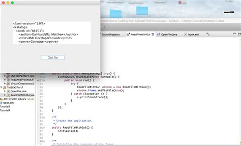 java tutorial read xml file jfilechooser gui opens file xml correctly but then does