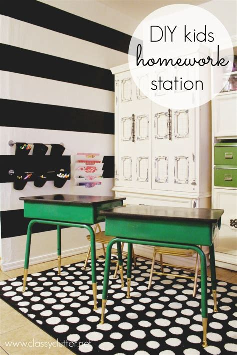 kids homework station diy homework and art station
