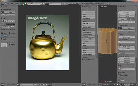 Blender Lrc blender2 5 주전자 모델링1