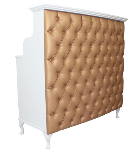 bronze faux leather padded front reception desk