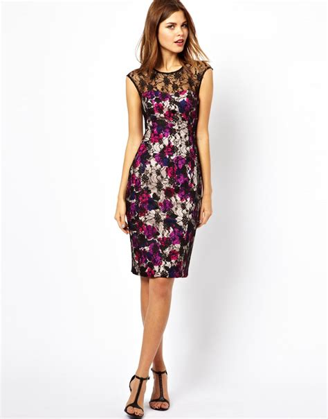 Is This Connection Shift The Dress Of The Season by Connection Printed Lace Shift Dress In Purple