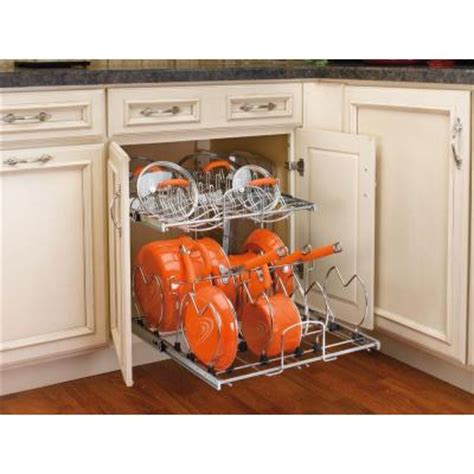 kitchen cabinet organizers home depot rev a shelf 18 in h x 21 in w x 22 in d 2 tier pull out base cabinet cookware organizer 5cw2
