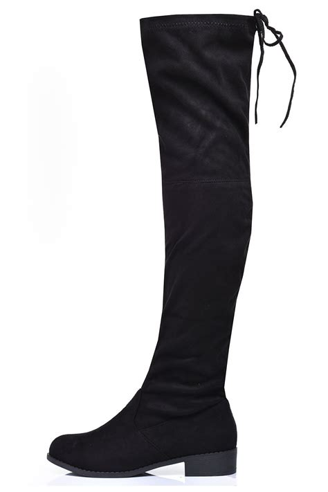 indigo footwear carolyn the knee flat boots in black
