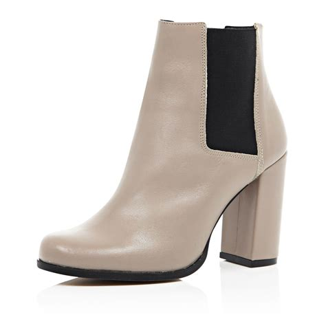 river island beige leather heeled ankle boots in beige