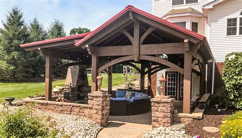 Pennsylvania Pavilion Fireplace Hanging Lanterns Timber Frame Pergola Kits