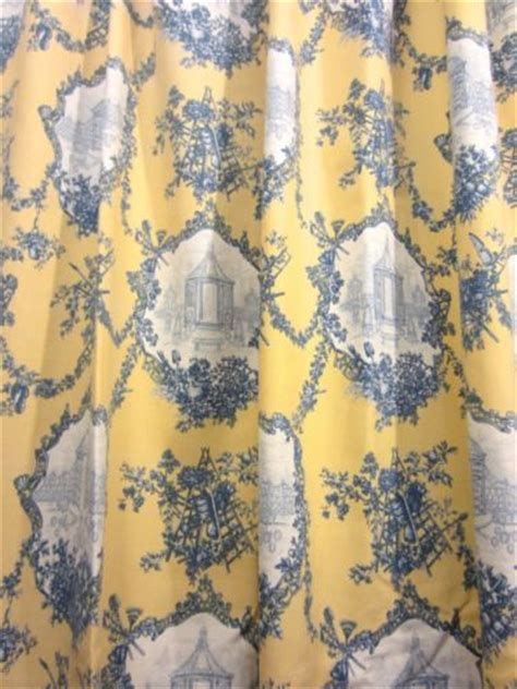 yellow toile shower curtain pair thomasville yellow blue french country toile cotton