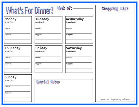 printable menu planner pages menu planner printable teaching what is good