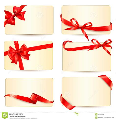 Gift Card Gratis - set of beautiful gift cards with red gift bows wit stock vector illustration of
