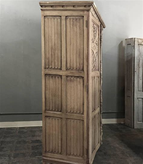 Solid Oak Armoire by Antique Stripped Carved Solid Oak Armoire At