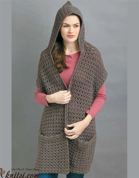 free knitting pattern hooded scarf pockets crochet hooded scarf with pockets