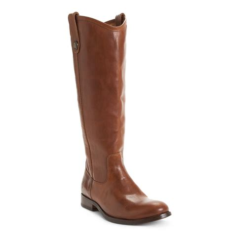 frye boots button frye button extended boots in brown cognac lyst