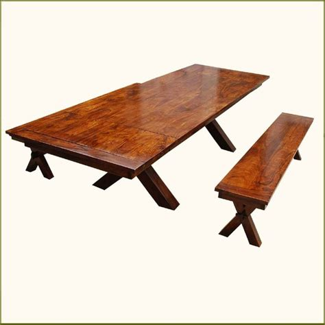 Picnic Dining Room Table Contemporary Picnic Style X Dining Table Bench Set W Extensions Contemporary