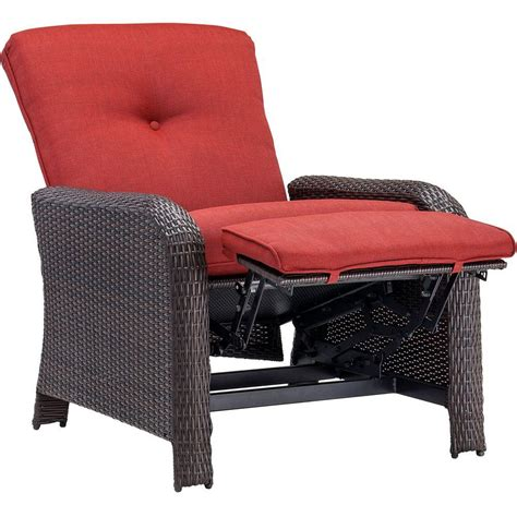 Reclining Outdoor Chair by Hanover Strathmere Crimson Outdoor Reclining Patio Arm