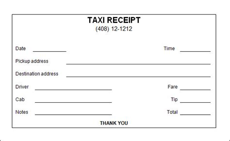 taxi receipt template 17 free for word pdf