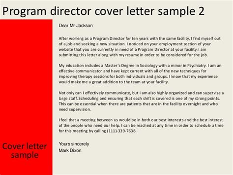 project director cover letter program director cover letter