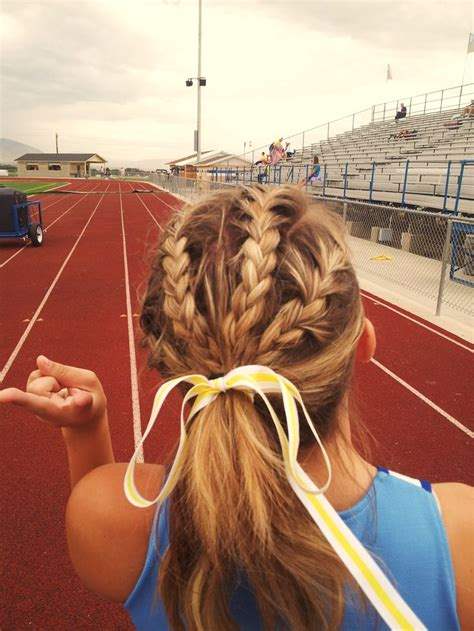 how to style hair for track and field braids this would be cute for volleyball games and track