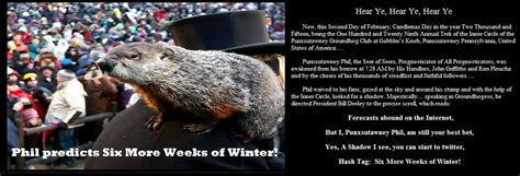 groundhog day 2015 six more weeks of winter according to punxsutawney phil s